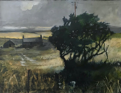 Painting of tree and cottage with yellow fields and a grey sky