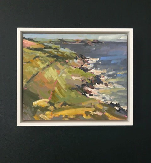 Framed Jill Hudson landscape of Penlee point on the Rame Peninsula in south east Cornwall, UK.