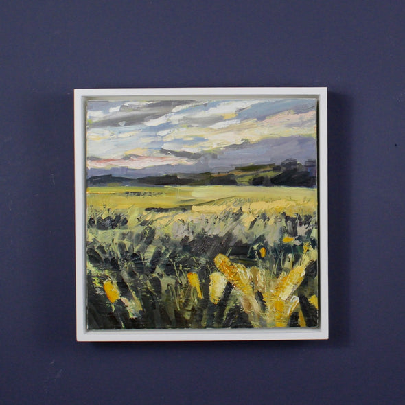 Jill Hudson oil painting of a field with corn in in the sun