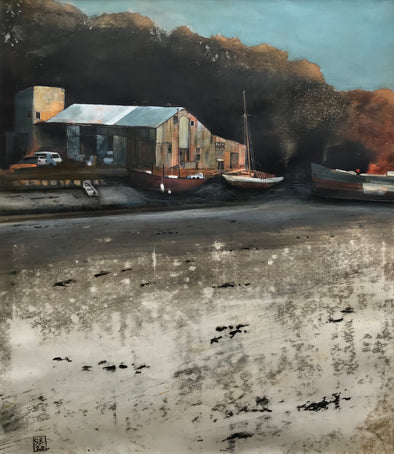 Painting of a boatyard at low tide