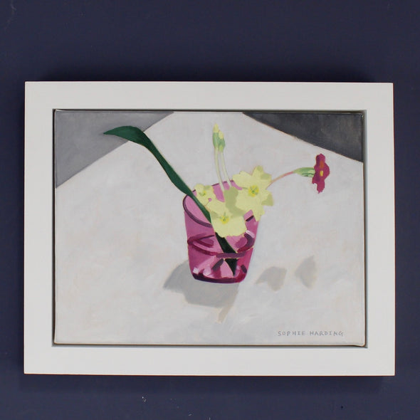 Sophie Harding painting of primroses in a pink glass