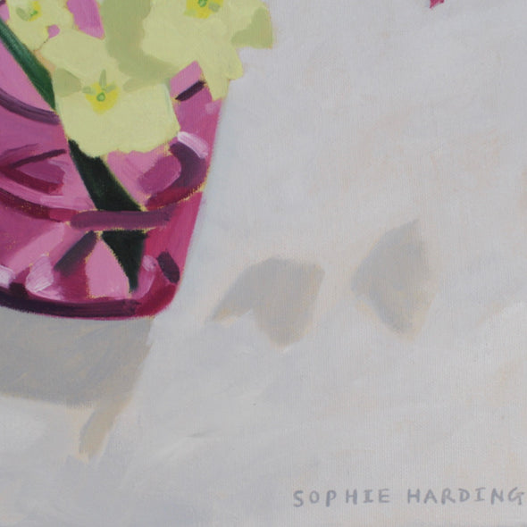 Sophie Harding - Primroses in Pink Glass