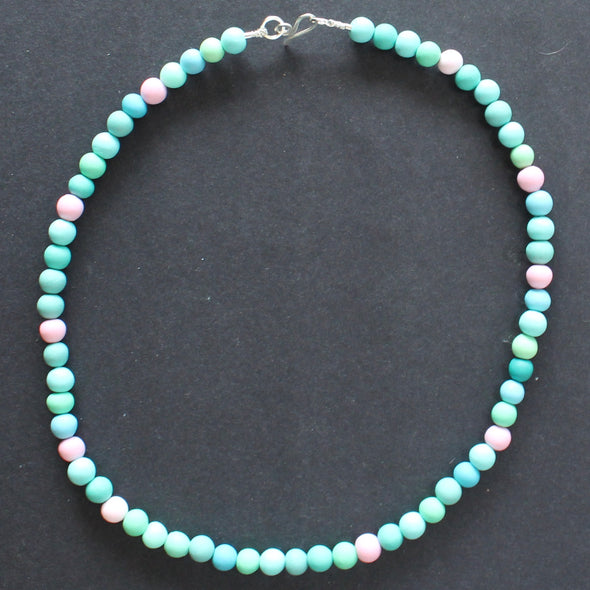 Clare Lloyd tiny bead necklace in pastels and duck egg blue