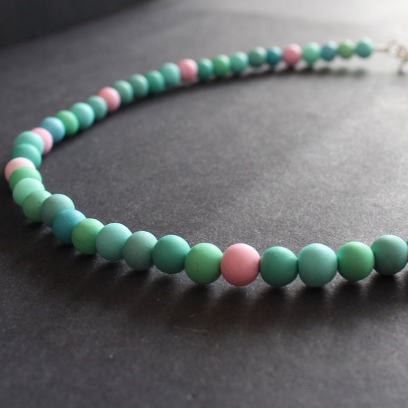 Clare Lloyd - Tiny bead necklace in duck egg blues / pink