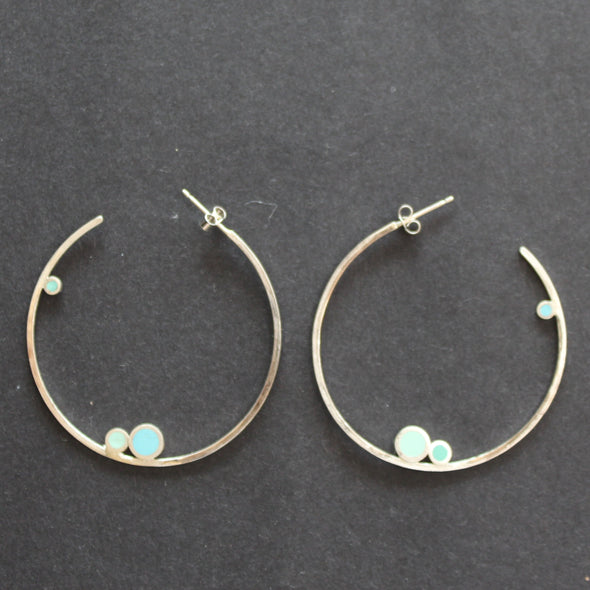 Clare Lloyd drop large hoop earrings with blue circles