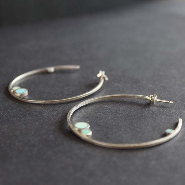 Clare Lloyd - Large Hoop Earrings Blue Circles