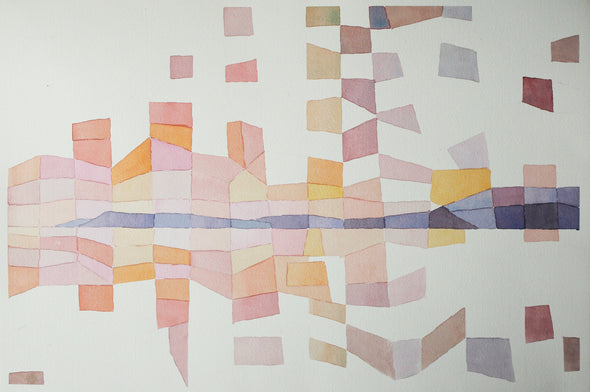 An abstract painting of pink and purple triangles and rectangles by David Muddyman at the Byre Gallery