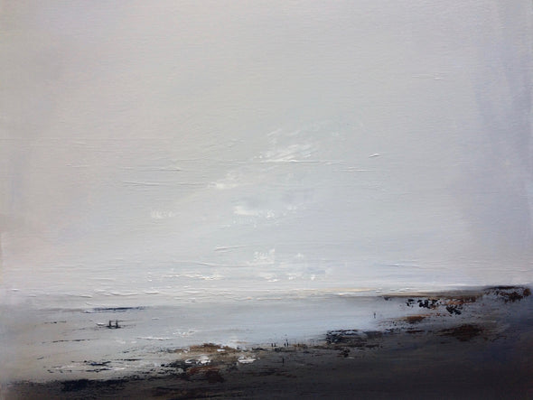 Abstract seascape by Cornwall artist Nicola Mosley in blues, greys and browns