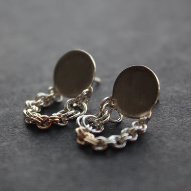 silver stud earrings with hanging silver and gold chain
