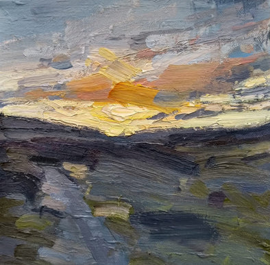 Oil painting of a sunset over a moor