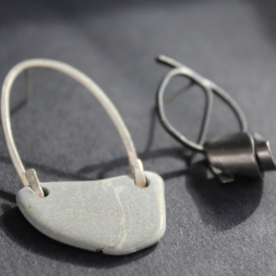 mis-matched earrings by Lizzie Weir of Anatole Design, made from found materials