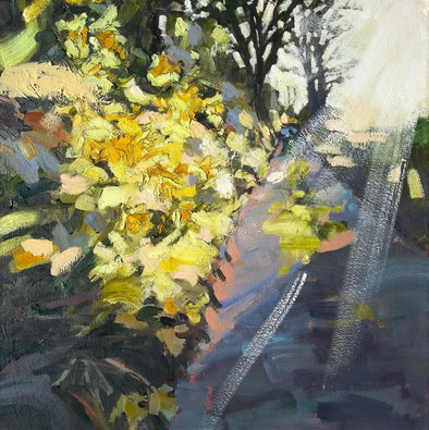 Abstract landscape painting by Jill Hudson of flower filled hedgerow