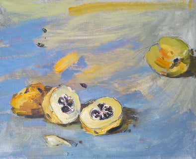 Jill Hudson still life painting of a quince fruit cut in half on a blue background