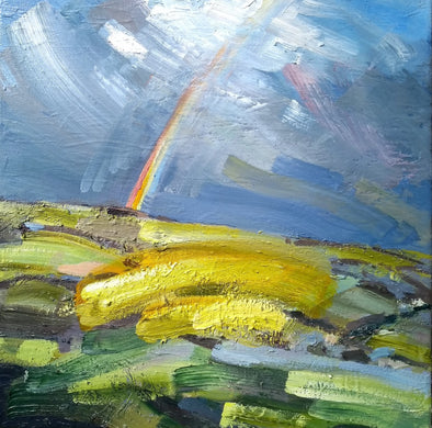 Jill Hudson abstract painting showing a yellow and green field, a cloudy blue sky and a rainbow