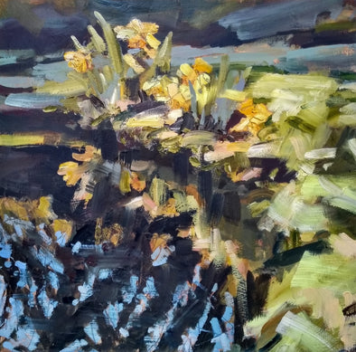 Abstract landscape painting by Jill Hudson of yellow daffodils reflected in water