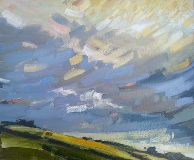 Jill Hudson 'Yellow Field' painting of a large sky with white and yellow clouds above a field with a patch of yellow