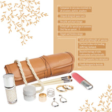 Load image into Gallery viewer, Travel Jewelry Organizer Roll Tan