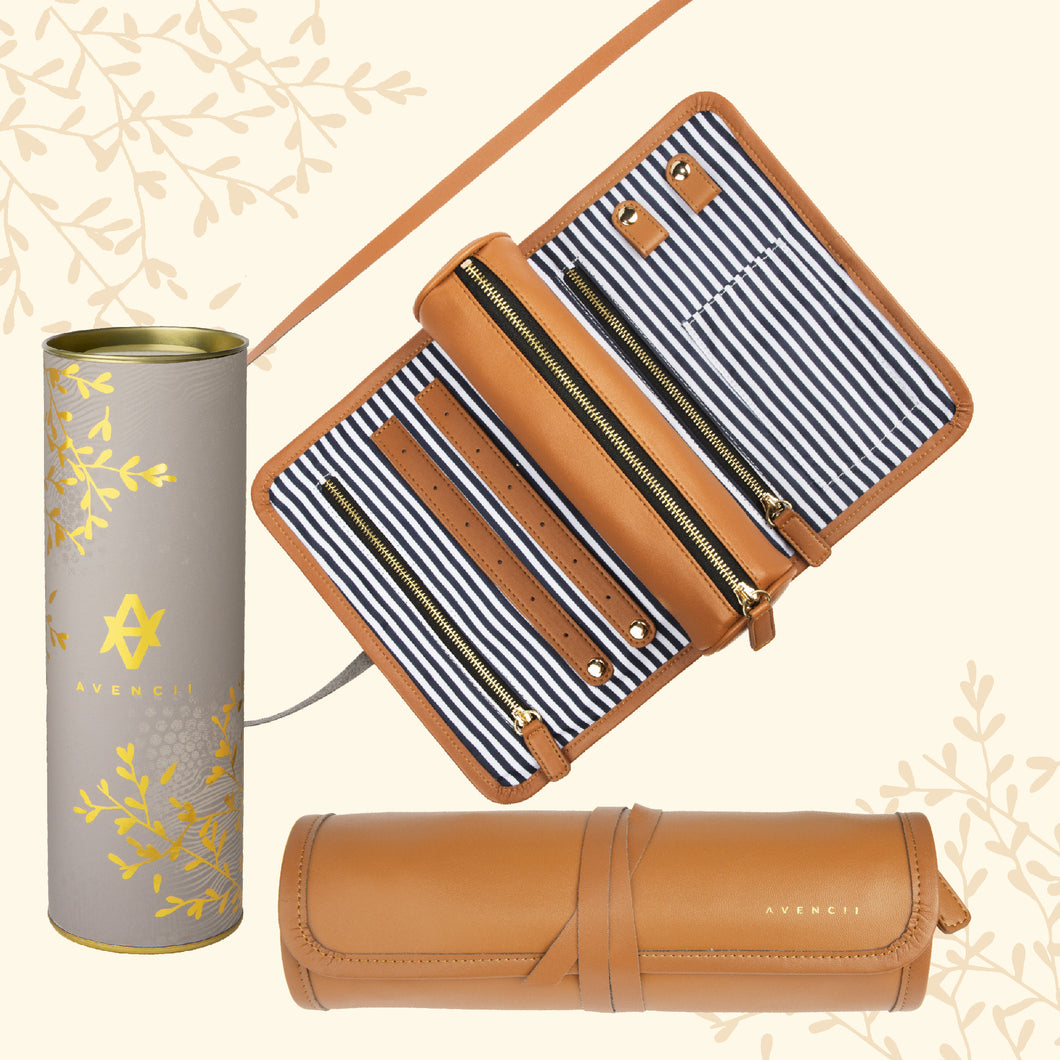 Travel Jewelry Organizer Roll Tan