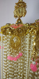 Pink Meena Kalira with pearls