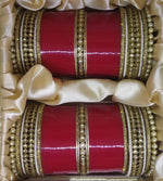 Load image into Gallery viewer, BL Premium Kundan Chura With Pearl Bangles Red