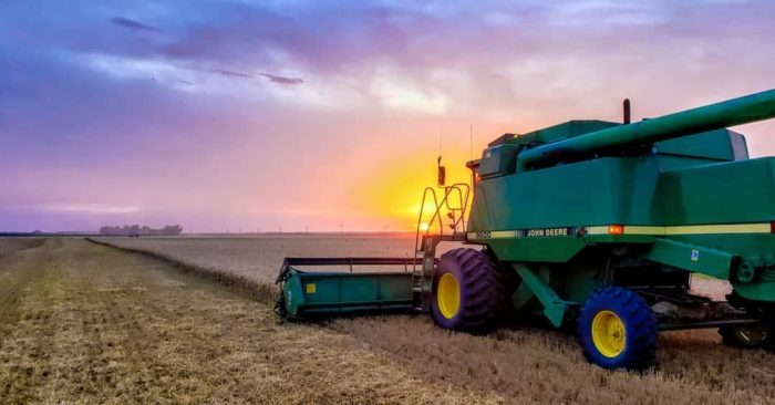 green john deere combine harvesting wheat during a colorful sunset