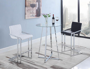 G100026 Contemporary Chrome and Glass Bar Table image