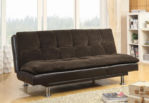 G300313 Contemporary Overstuffed Brown and Chrome Sofa Bed image