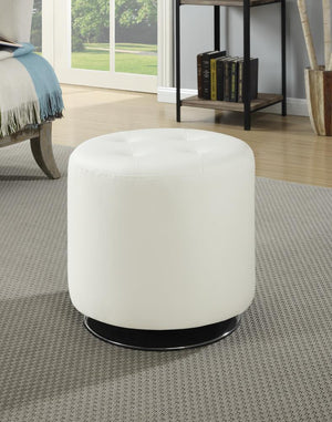 G500554 Contemporary White Round Ottoman image