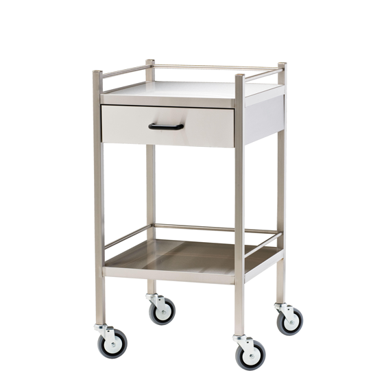 Stainless Steel Trolley with Drawer - Units of 1