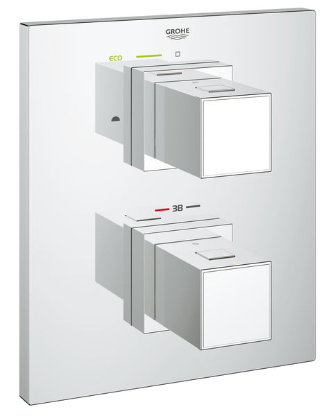 Grohtherm Cube Thermostat with integrated 2-way diverter for bath or shower with more than one outlet