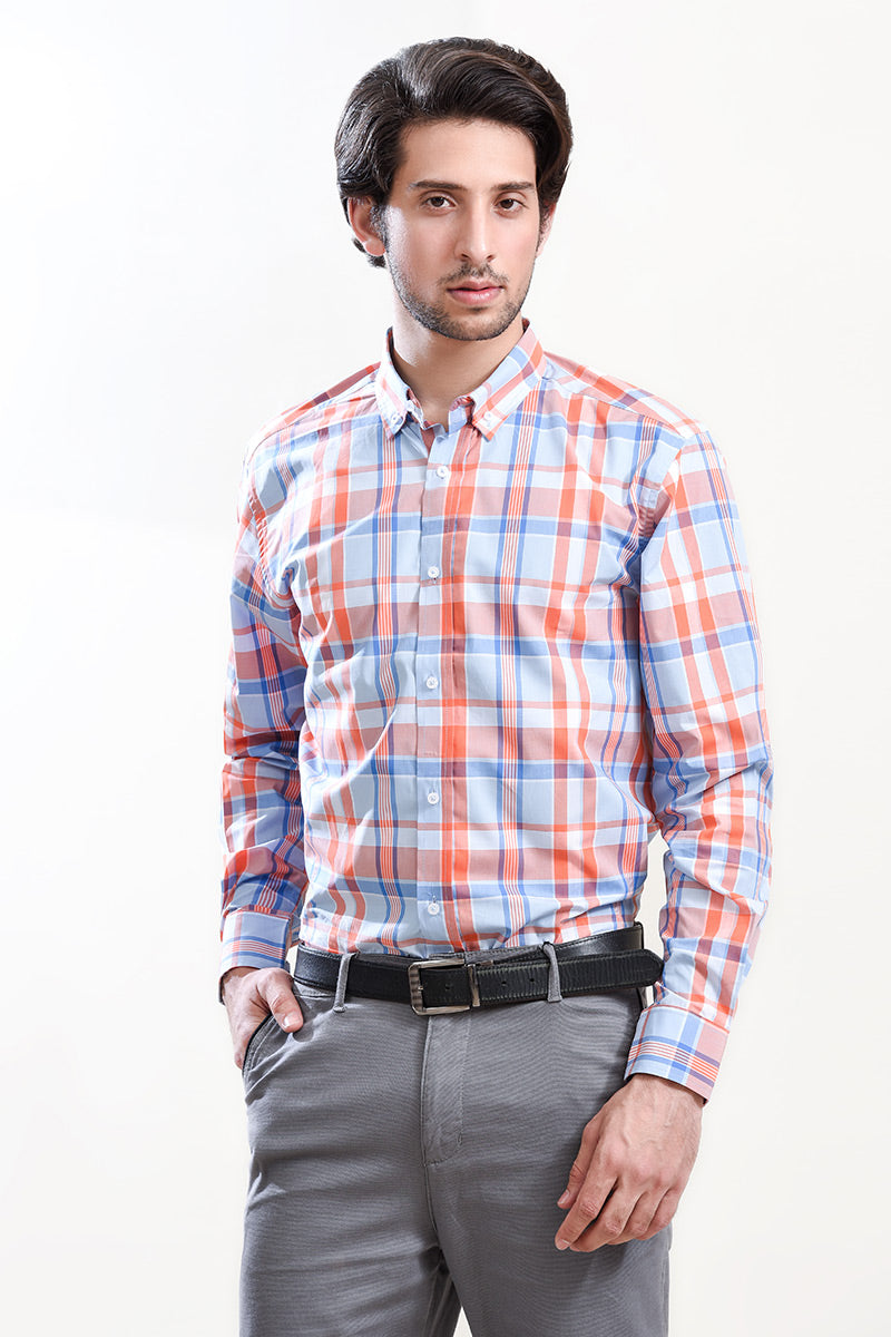 SEMI FORMAL SHIRT SKY/ORANGE CHK