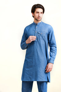 Denim Kurta Trouser Blue