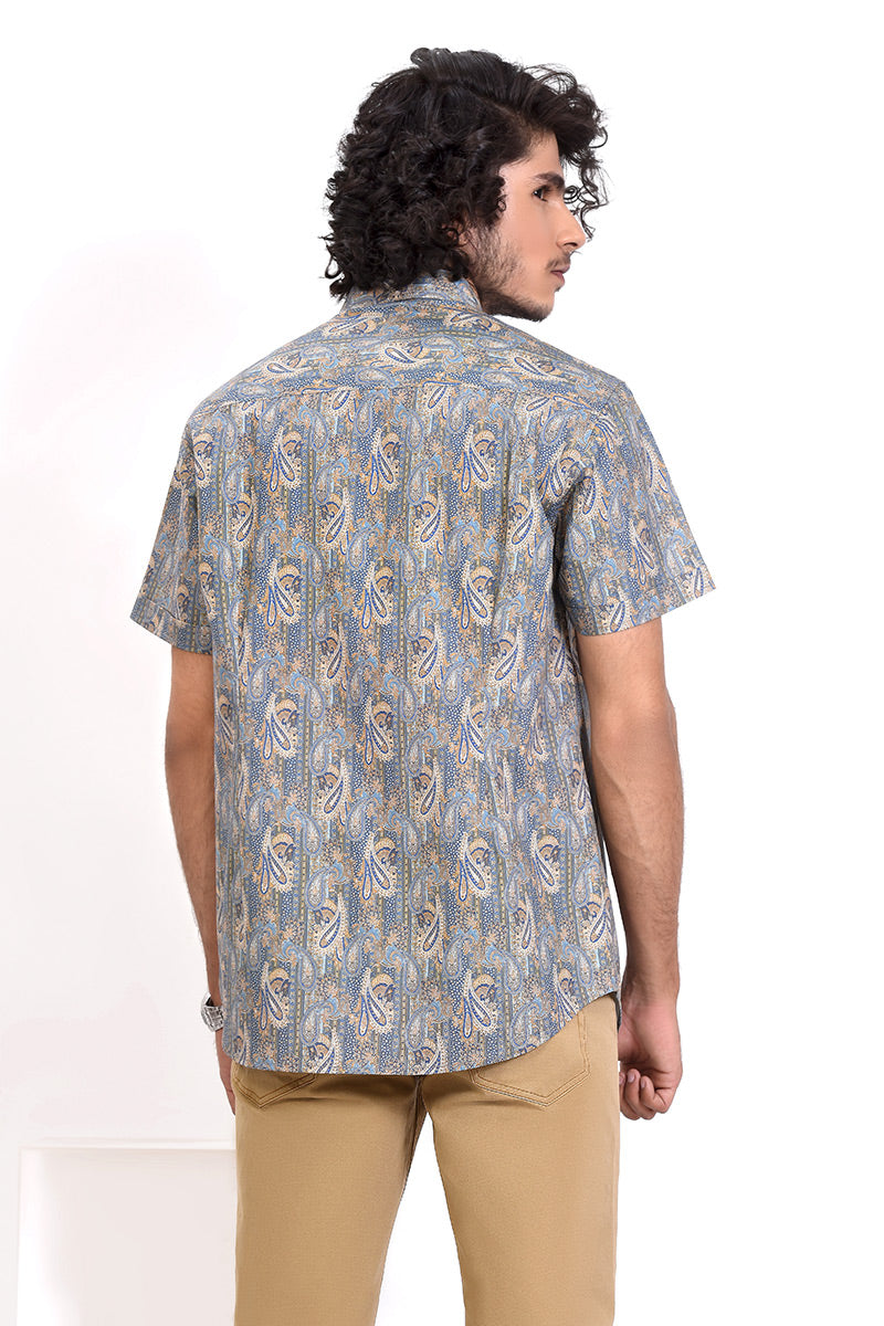 GTS-5986 FASHION SHIRT W/PTD NAVY