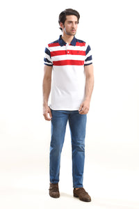 Striper Polo Shirt White/Red