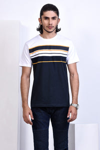 T-SHIRT R/N NAVY/WHITE/MUSTARD