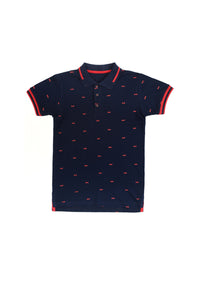 Polo Shirt W/Ptd Navy
