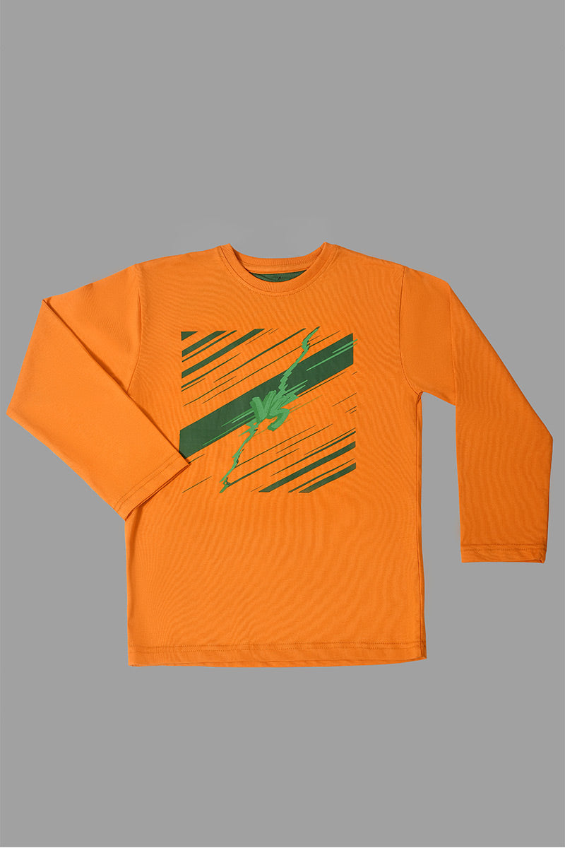 T-SHIRT R/N F/SLV ORANGE