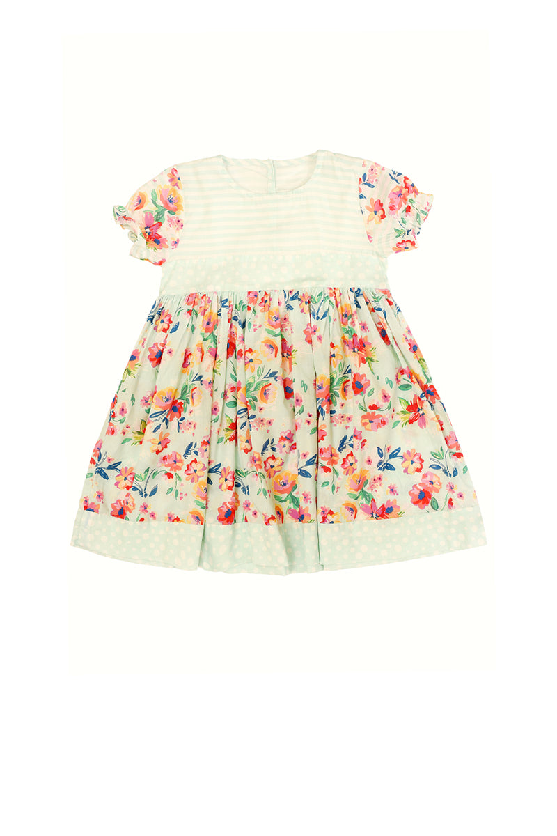 Pareesa Girl Frock W/Ptd Green