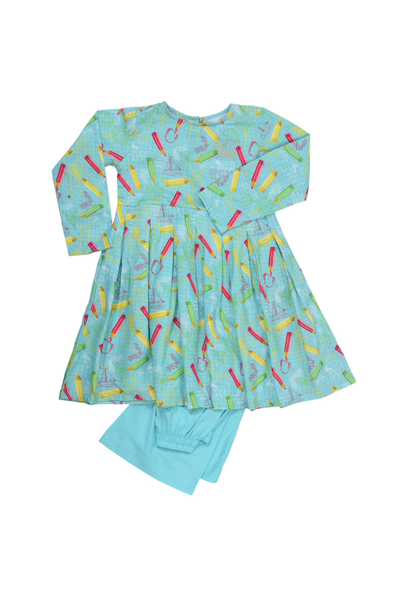 Pareesa Girl 2 Pcs Suit Sea Green