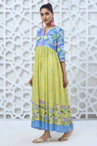 Pret Long Frock W/Ptd Blue/Green/White