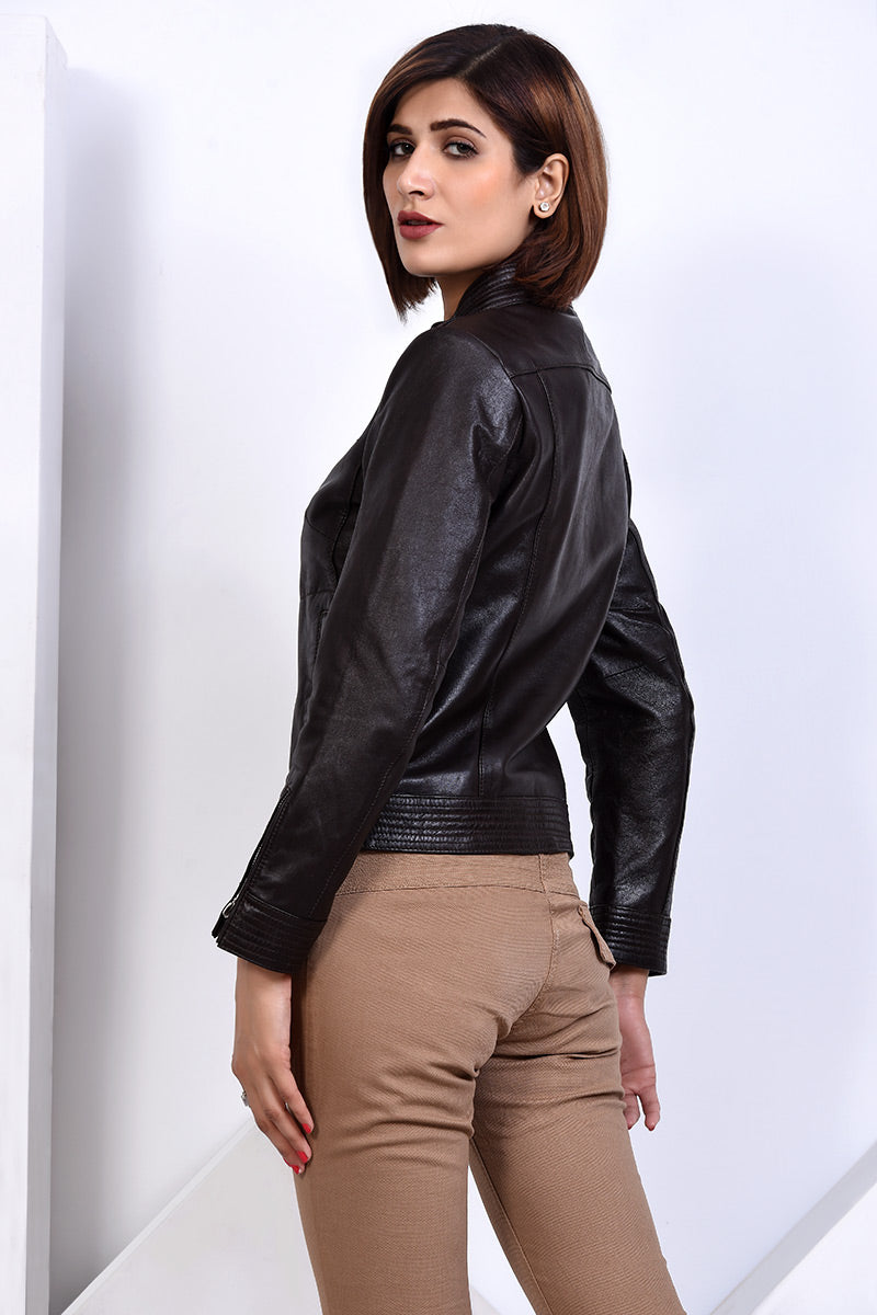 LDS-5874 LEATHER JACKET CHOCOLATE