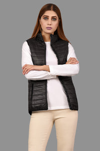 Quilted Jacket Slv Less Black