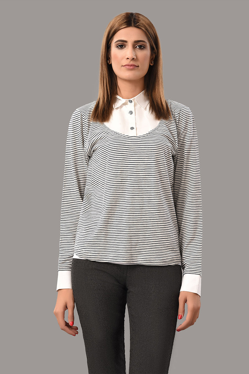Fashion Top R-Neck Navy Stripes