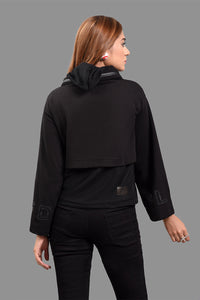 Neck Zipper Sweat Shirt Black