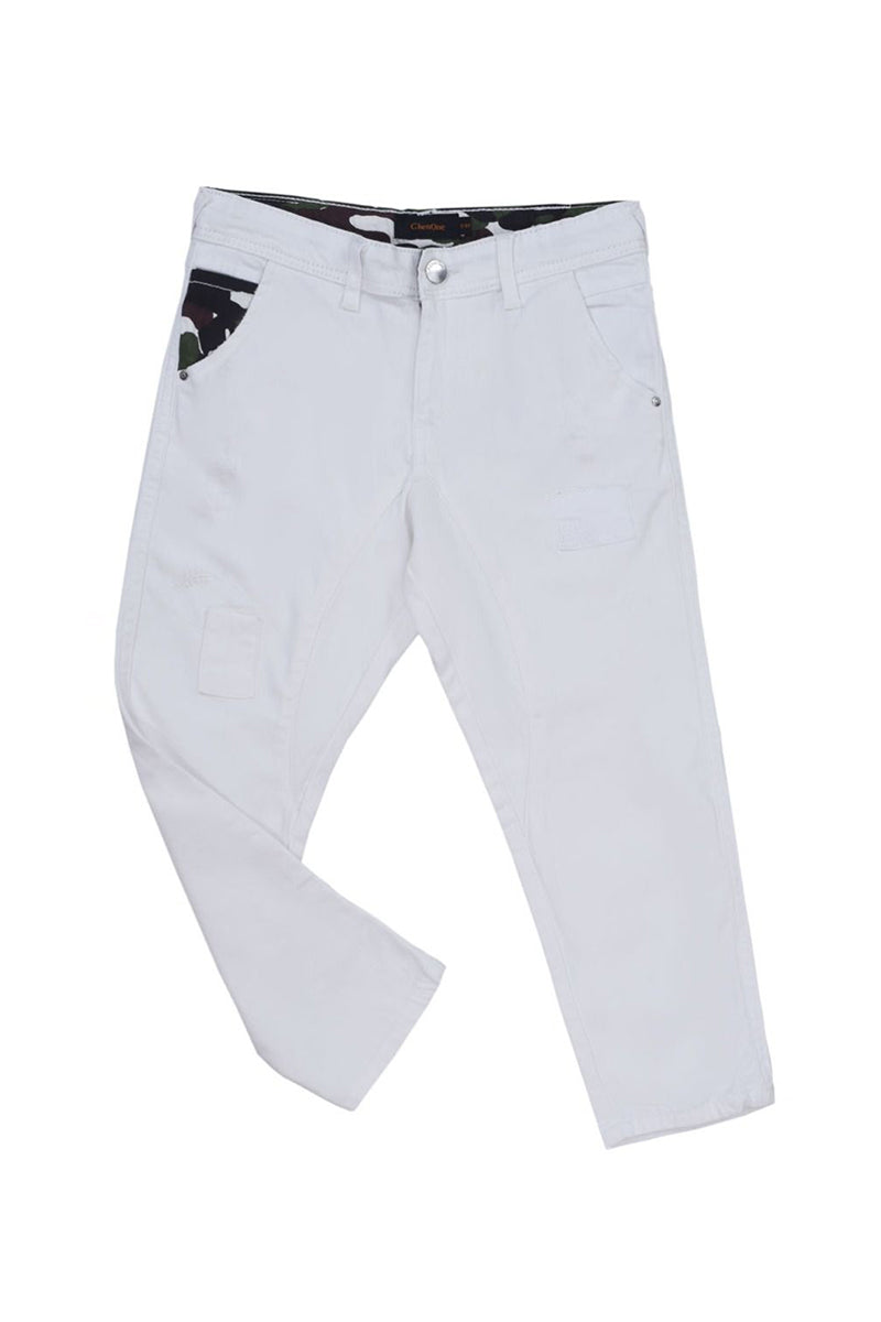 Fashion Trouser Slub Twill White