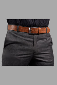Wide Stripe Belt L/Brown