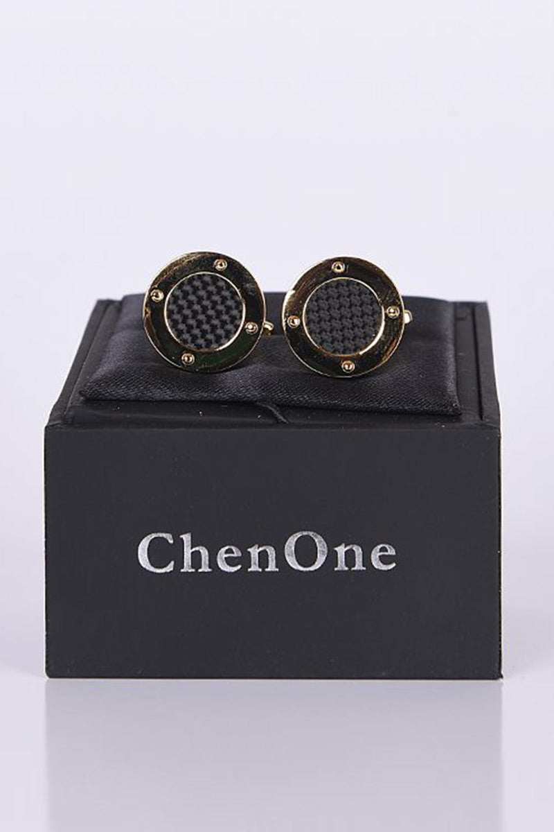 SILVER WITH CARBON FIBRE METAL CUFFLINKS