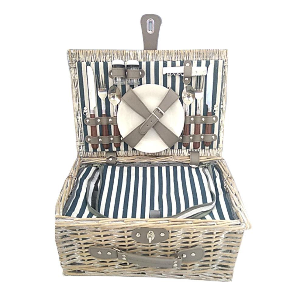 Eddingtons 2 Person Traditional Blue Stripe Liner Hamper