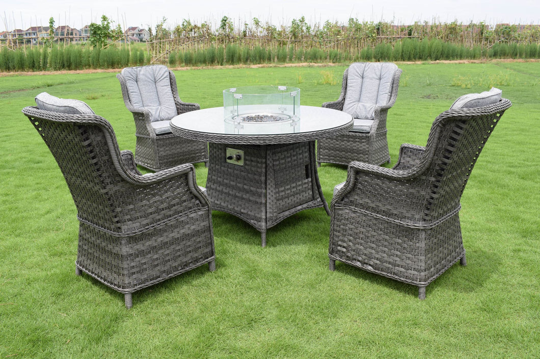 Florence 4 Seater Round Firepit Set Dark Grey