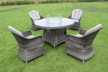 Load image into Gallery viewer, Florence 4 Seater Round Firepit Set Dark Grey